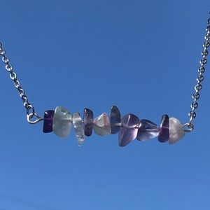 Silver Chain Sea Glass Crystal Necklace